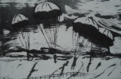 Fallschirmspringer, Aquatinta, 15 x 23 cm, 2009