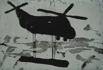 Transporthubschrauber, Aquatinta, 10 x 15 cm, 2009