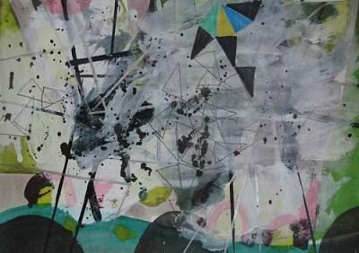 Lichtung, Mischtechnik auf Papier, 21 x 29,7 cm, 2009