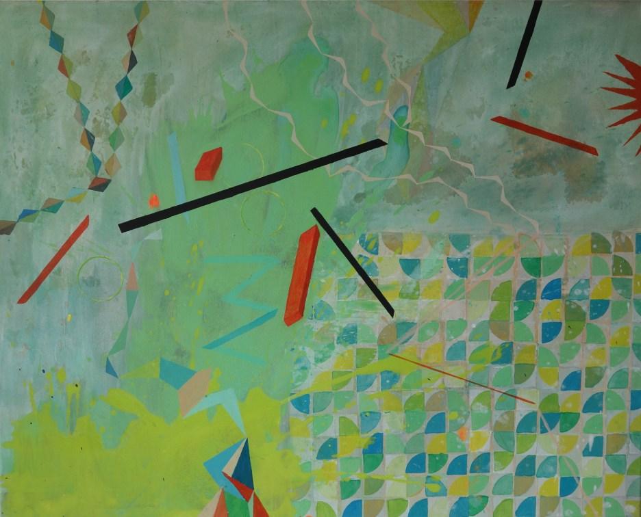 Rot, Gelb, Mint, Acryl auf Leinwand, 80 x 100 cm, 2019