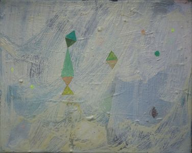 Snowstorm and triangles and three neon green dots, Öl auf Leinwand, 24x30 cm, 2016