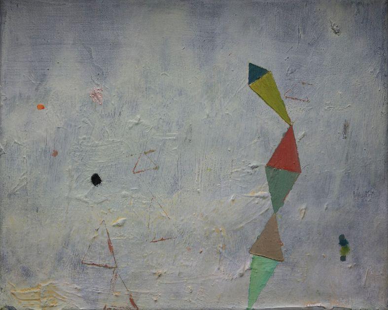 Chain of mint, mauve, sage, peach, lemon yellow and blue triangles, Öl auf Leinwand, 24x30 cm, 2016