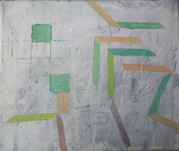 Some mint, light pink and turquoise geometric patterns,Öl auf Leinwand, 24x30 cm, 2016