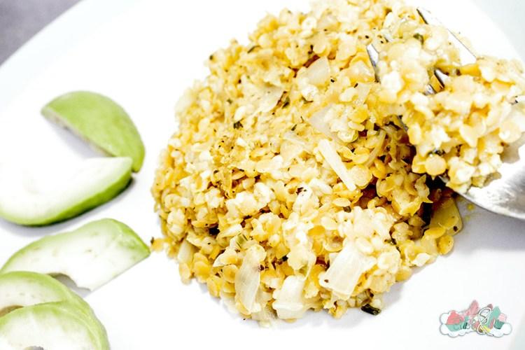 Recette Lentilles Corail et Boulgour avec sauce Oignons Citrons