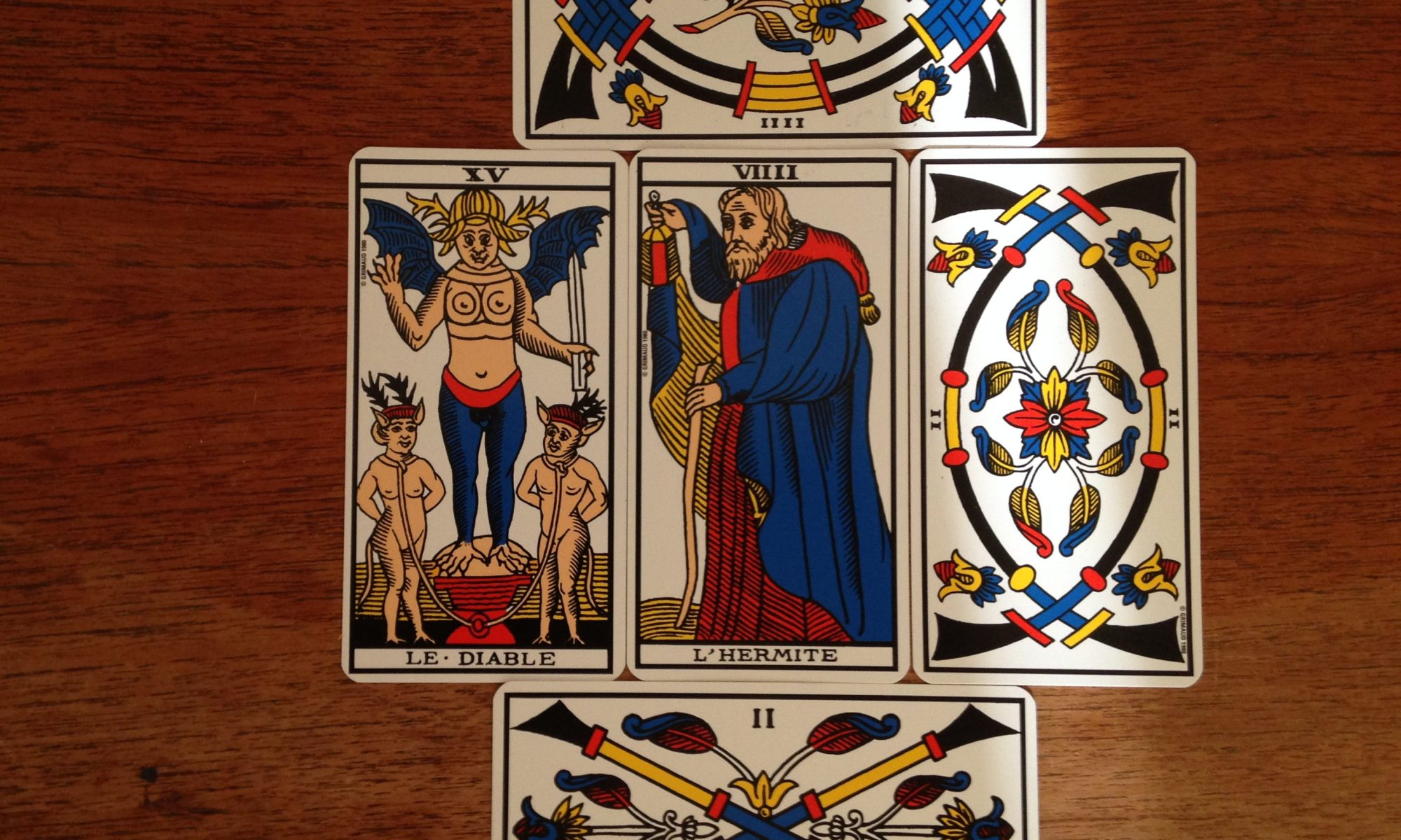 Tarot Cards - The Devil, The Hermit, Two of Swords