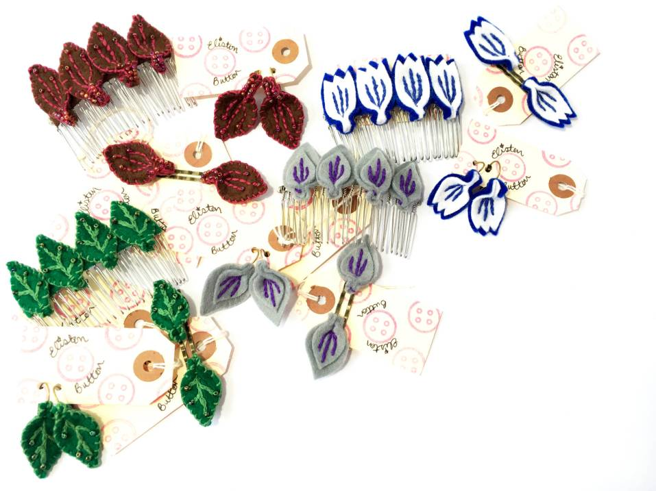 Embroidered Felt Petal Earrings and Hair Accessories - About Me at www.elistonbutton.com - Eliston Button - That Crafty Kid – Art, Design, Craft & Adventure.