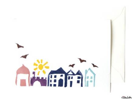 Hand Stamped Streetscape Notecards - Set of 4 with Envelopes by Eliston Button - About Me at www.elistonbutton.com - Eliston Button - That Crafty Kid – Art, Design, Craft & Adventure.