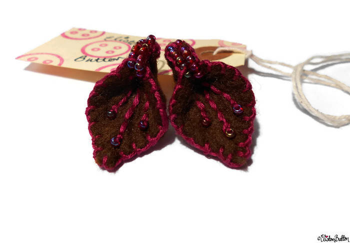 Raspberry and Chocolate Embroidered Felt Petal Earrings - About Me at www.elistonbutton.com - Eliston Button - That Crafty Kid – Art, Design, Craft & Adventure.