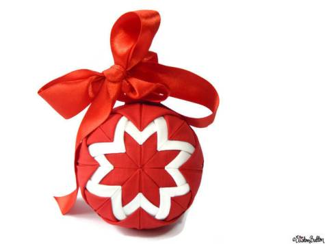 Red and White Fabric Quilted Ball Decoration with Ribbon Bow by Eliston Button - About Me at www.elistonbutton.com - Eliston Button - That Crafty Kid – Art, Design, Craft & Adventure.