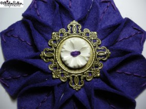 Royal - Deep Purple and Antique Gold Embroidered Felt Flower Brooch - 27 Before 27 - I Did It! (and two big announcements) at www.elistonbutton.com - Eliston Button - That Crafty Kid – Art, Design, Craft & Adventure.