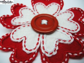 Hello Lover - Red and White Heart Shaped Petals Embroidered Felt Flower Brooch - 27 Before 27 - I Did It! (and two big announcements) at www.elistonbutton.com - Eliston Button - That Crafty Kid – Art, Design, Craft & Adventure.