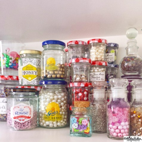 Day 10 - J is for..Jars of Beads and Buttons - Photo-a-Day October 2014 - Eliston Button A to Z of Craft at www.elistonbutton.com - Eliston Button - That Crafty Kid – Art, Design, Craft & Adventure.