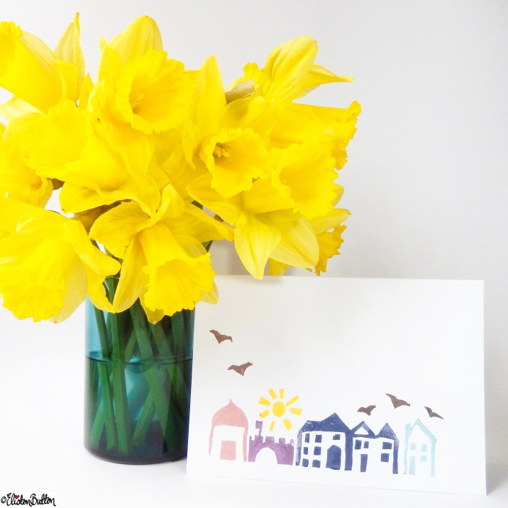 Streetscape Hand Printed Card with Daffodils - Around Here...April 2015 at www.elistonbutton.com - Eliston Button - That Crafty Kid – Art, Design, Craft & Adventure.