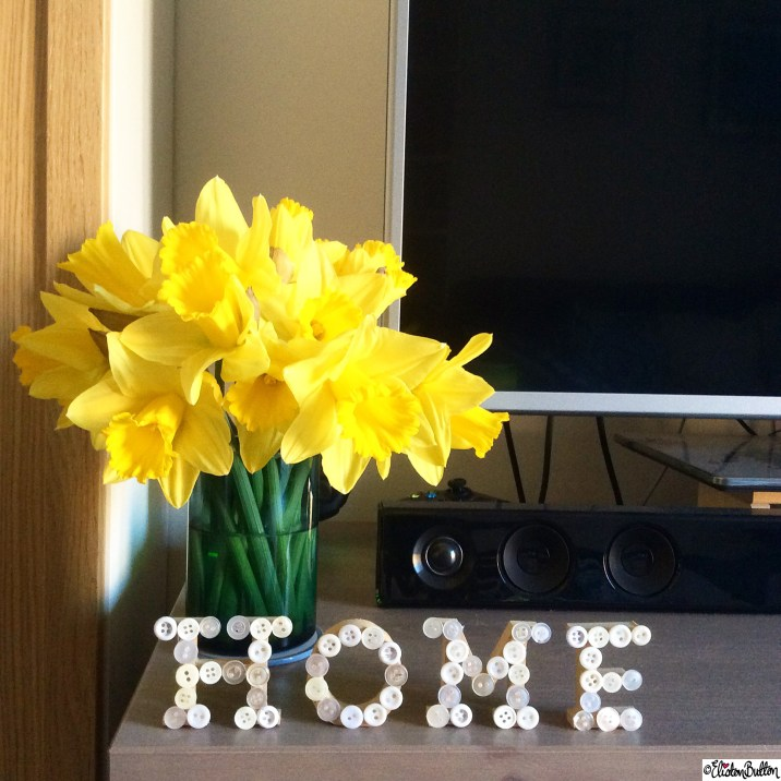 Home Button Letters and Springtime Daffodils - Around Here...April 2015 at www.elistonbutton.com - Eliston Button - That Crafty Kid – Art, Design, Craft & Adventure.