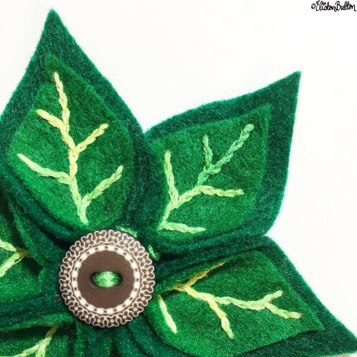 Day 05 - Leaves - Leafy Greens Embroidered Felt Brooch by Eliston Button on Etsy - Photo-a-Day - January 2016 at www.elistonbutton.com - Eliston Button - That Crafty Kid – Art, Design, Craft and Adventure.