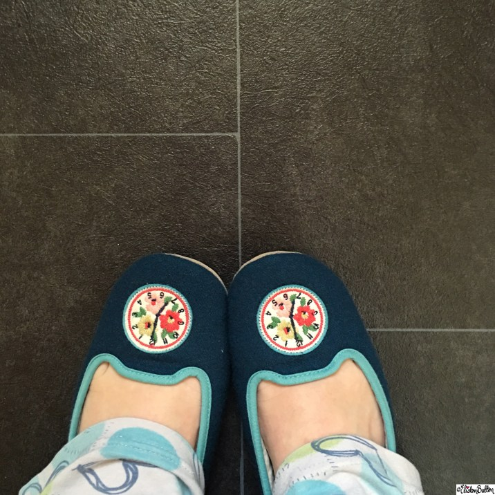Day 09 - Shoes - Cath Kidston Clock Slippers - Photo-a-Day - January 2016 at www.elistonbutton.com - Eliston Button - That Crafty Kid – Art, Design, Craft and Adventure.