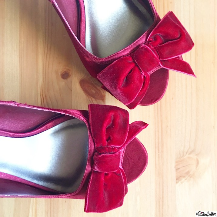 Day 12 - Something I Wore - Beautiful Red Velvet Bow Stilettos - Photo-a-Day - January 2016 at www.elistonbutton.com - Eliston Button - That Crafty Kid – Art, Design, Craft and Adventure.