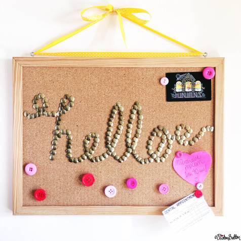 Day 07 - Hello - Drawing Pin Word Art Cork Board - Photo-a-Day – March 2016 at www.elistonbutton.com - Eliston Button - That Crafty Kid – Art, Design, Craft & Adventure.