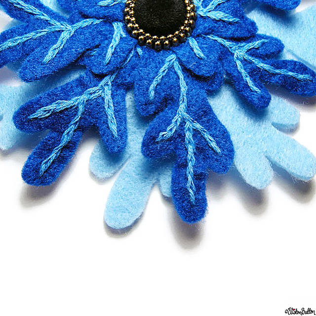 Day 04 - Cool - Frozen Embroidered Felt Flower Brooch - Photo-a-Day – April 2016 at www.elistonbutton.com - Eliston Button - That Crafty Kid – Art, Design, Craft & Adventure.