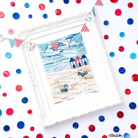 Day 02 - Treat - Beach Hut Fabric Collage Print with Red, White and Blue Buttons and Bunting - Photo-a-Day – June 2016 at www.elistonbutton.com - Eliston Button - That Crafty Kid – Art, Design, Craft & Adventure.