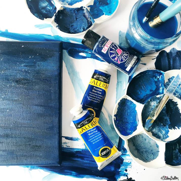 Day 01 - A is For...Acrylic Paint - Inky Blue Night Sky Painted Canvas - Photo-a-Day - July 2016 - Eliston Button A-Z of Craft at www.elistonbutton.com - Eliston Button - That Crafty Kid – Art, Design, Craft & Adventure.