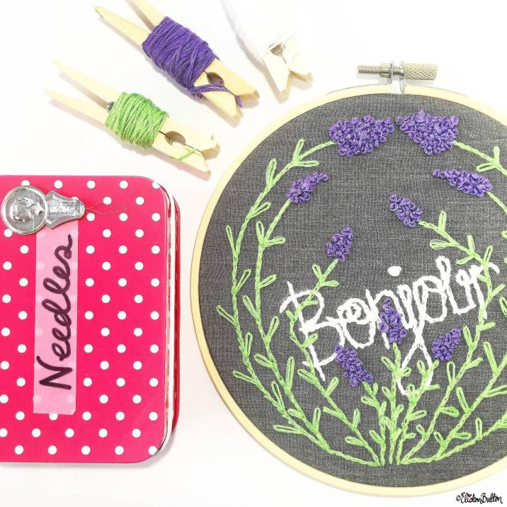 Day 05 - E is For...Embroidery - Bonjour Lavender Embroidery Hoop and Needle Tin - Photo-a-Day - July 2016 - Eliston Button A-Z of Craft at www.elistonbutton.com - Eliston Button - That Crafty Kid – Art, Design, Craft & Adventure.