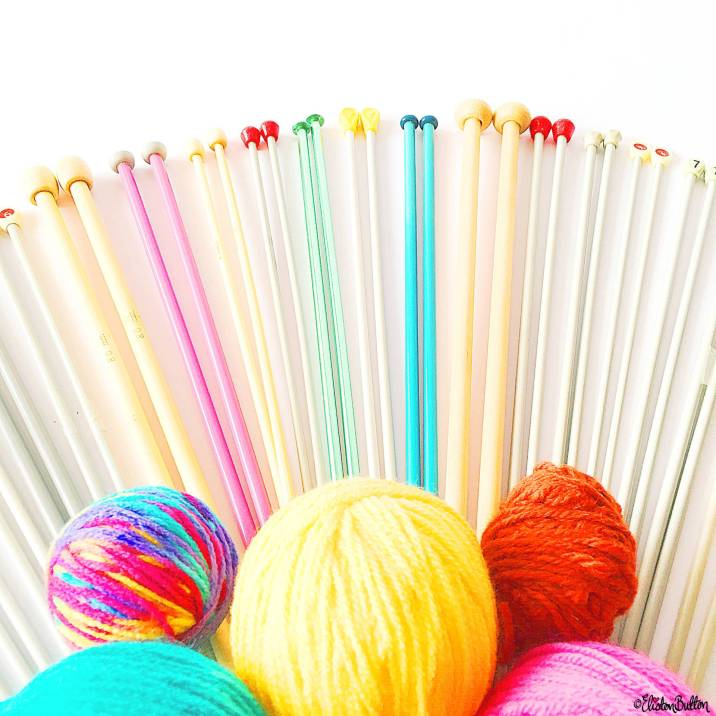 Day 14 - N is for...Needles - Pretty Coloured Knitting Needles and Yarn - Photo-a-Day - July 2016 - Eliston Button A-Z of Craft at www.elistonbutton.com - Eliston Button - That Crafty Kid – Art, Design, Craft & Adventure.