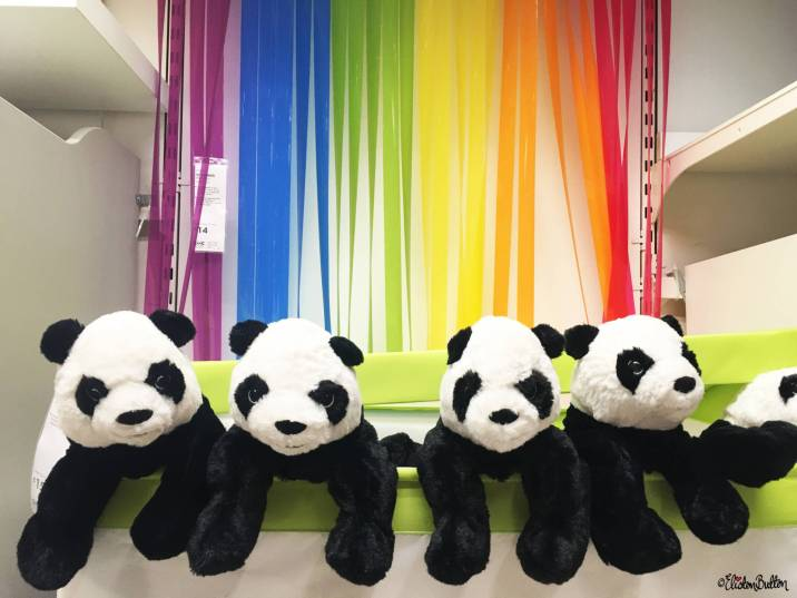 Four Little Panda Soft Toys with a Rainbow Backdrop at IKEA, Birmingham - The Patterns and Colours of IKEA at www.elistonbutton.com - Eliston Button - That Crafty Kid – Art, Design, Craft & Adventure.