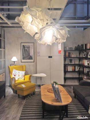 Pretty Grey and Yellow Living Room Show Room Display at IKEA, Birmingham - The Patterns and Colours of IKEA at www.elistonbutton.com - Eliston Button - That Crafty Kid – Art, Design, Craft & Adventure.