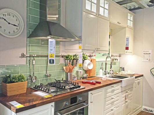 Sage Green and White Kitchen Display Showroom at IKEA, Birmingham - The Patterns and Colours of IKEA at www.elistonbutton.com - Eliston Button - That Crafty Kid – Art, Design, Craft & Adventure.
