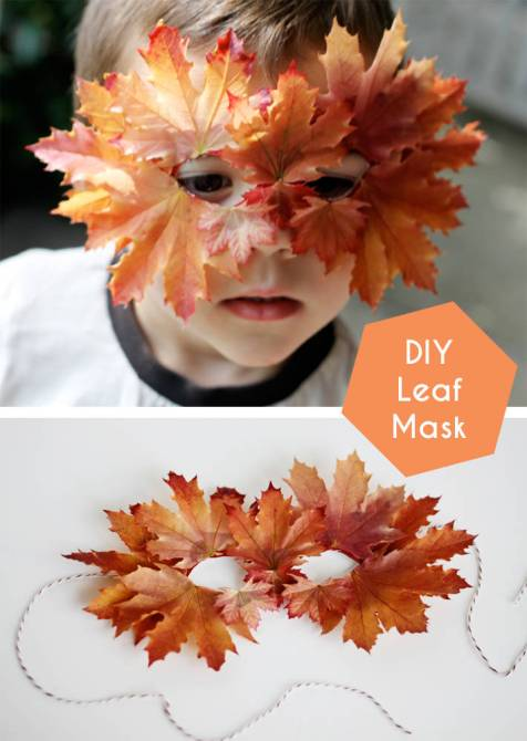 D.I.Y Leaf Mask by Small + Friendly - Shared on For the Love of…Autumn at www.elistonbutton.com - Eliston Button - That Crafty Kid – Art, Design, Craft & Adventure.