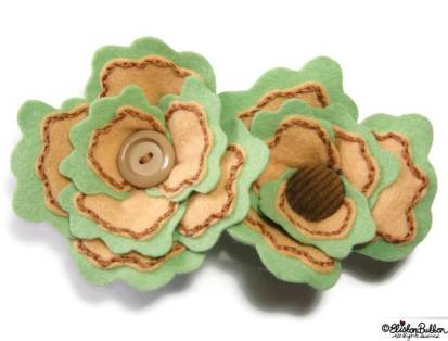 Sage and Onion Embroidered Felt Flower Brooches by Eliston Button on Etsy - For the Love of…Autumn at www.elistonbutton.com - Eliston Button - That Crafty Kid – Art, Design, Craft & Adventure.