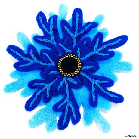 Embroidered Felt Frozen Snowflake Brooch by Eliston Button on Etsy - For the Love of...Winter at www.elistonbutton.com - Eliston Button - That Crafty Kid – Art, Design, Craft & Adventure.