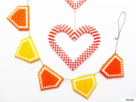 Picture Bead Bunting and Hearts Wall Hanging by Eliston Button - For the Love of...Spring at www.elistonbutton.com - Eliston Button - That Crafty Kid – Art, Design, Craft & Adventure.