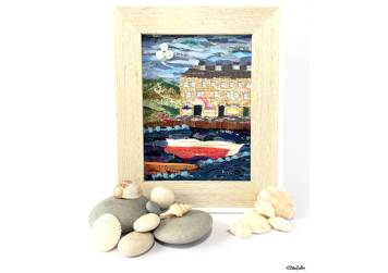 Original 'Seaside Harbour' Original Fabric Collage by Eliston Button - Shells and Pebbles - For the Love of…Summer at www.elistonbutton.com - Eliston Button - That Crafty Kid – Art, Design, Craft & Adventure.