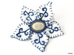 Create 30 - No. 14 - Blue and White Embroidered Felt Flower Brooch by Eliston Button - Create 30 – I Did It! (And Future Plans) at www.elistonbutton.com - Eliston Button - That Crafty Kid – Art, Design, Craft & Adventure.