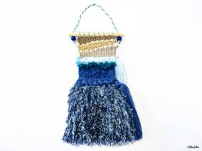 Create 30 - No. 22 - Mini Beach Woven Wall Hanging with Blue Seaweed Tassels by Eliston Button - Create 30 – I Did It! (And Future Plans) at www.elistonbutton.com - Eliston Button - That Crafty Kid – Art, Design, Craft & Adventure.