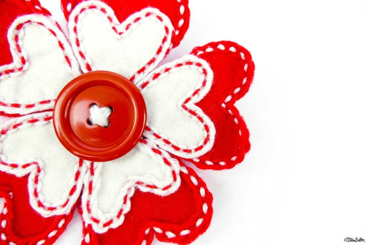 Hello Lover Red and White Hearts Embroidered Felt Flower Brooch by Eliston Button on Etsy - Eliston Button Etsy Shop Refresh at www.elistonbutton.com - Eliston Button - That Crafty Kid – Art, Design, Craft & Adventure.