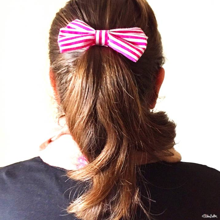 Pink and White Striped Hair Bow - Around Here...I'm Back! at www.elistonbutton.com - Eliston Button - That Crafty Kid – Art, Design, Craft & Adventure.