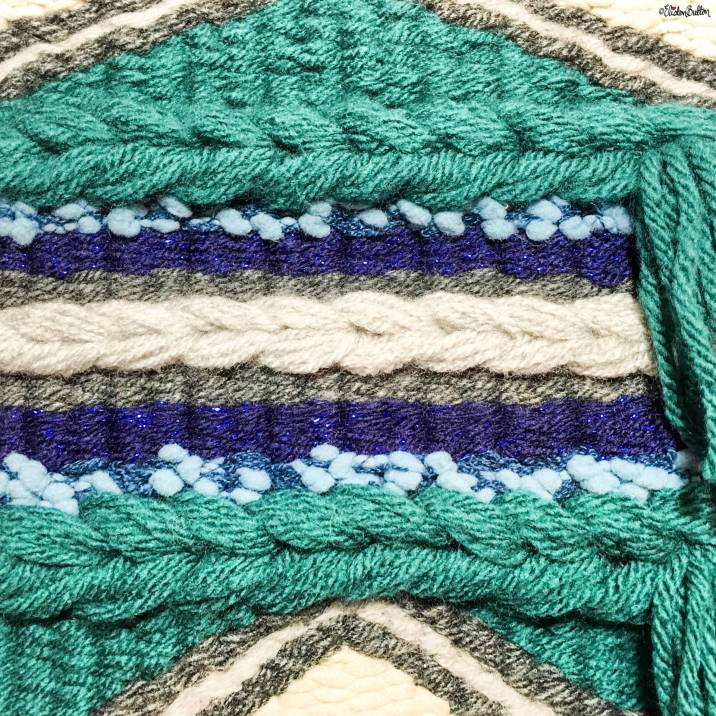 Teal, Navy Blue and Grey Woven Wall Hanging Close Up by Eliston Button on Etsy - Around Here...I'm Back! at www.elistonbutton.com - Eliston Button - That Crafty Kid – Art, Design, Craft & Adventure.