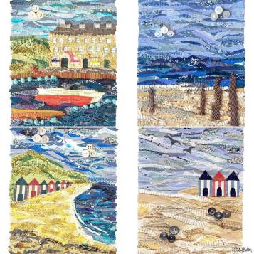 Seaside and Beach Fabric Collage Prints by Eliston Button - Meet the Maker Week 2017 at www.elistonbutton.com - Eliston Button - That Crafty Kid – Art, Design, Craft & Adventure.