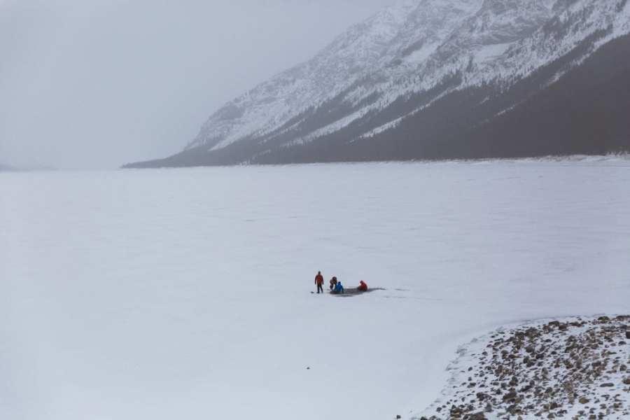 Frozen methane Bubble Hunting Spray lakes