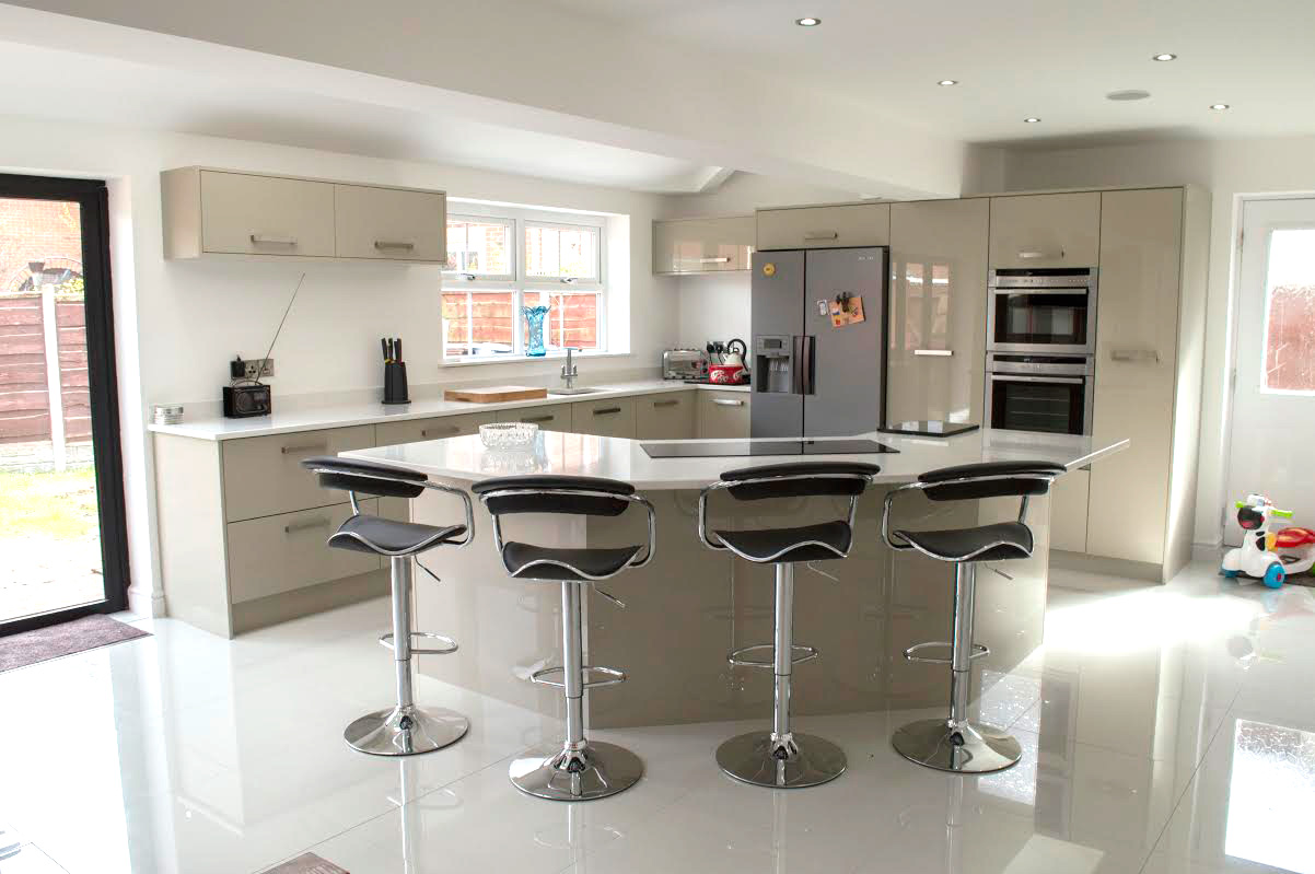 Designer New Kitchen At Their Home In Leigh
