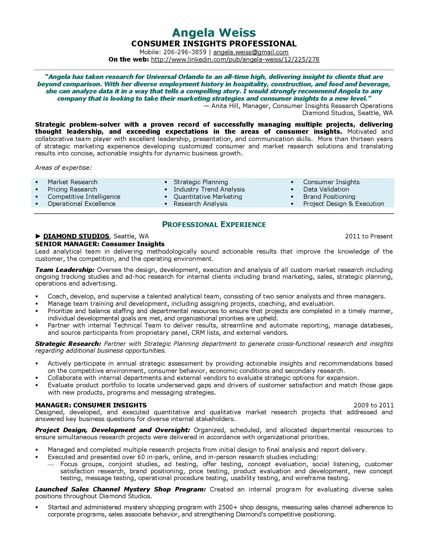 consumer insights resume sample provided by elite resume writing services