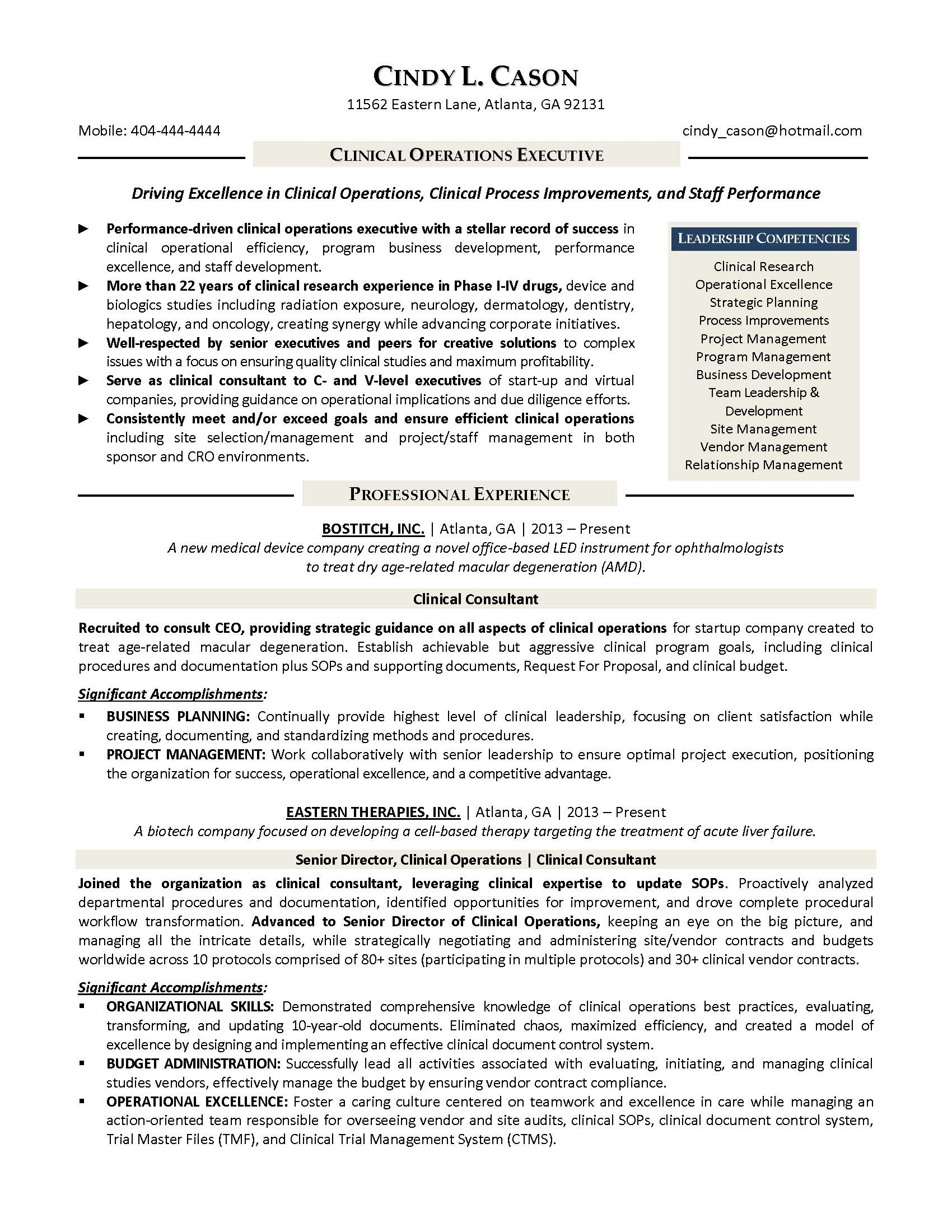 clinical operations executive resume sample provided by elite resume writing services