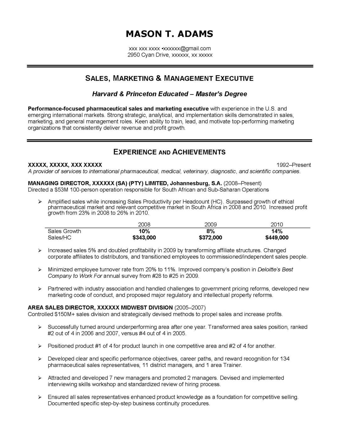 sales resume sample provided by elite resume writing services
