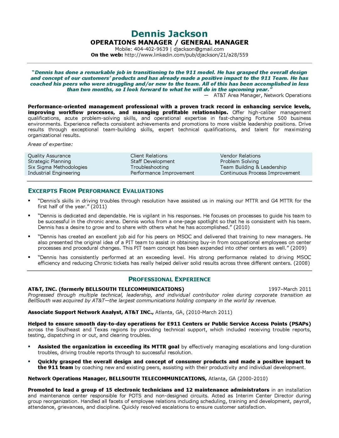 general manager resume sample, provided by Elite Resume Writing Services