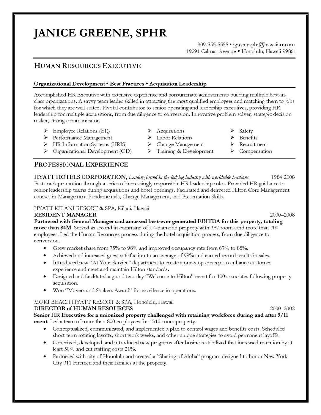 cover letter for human resources professional