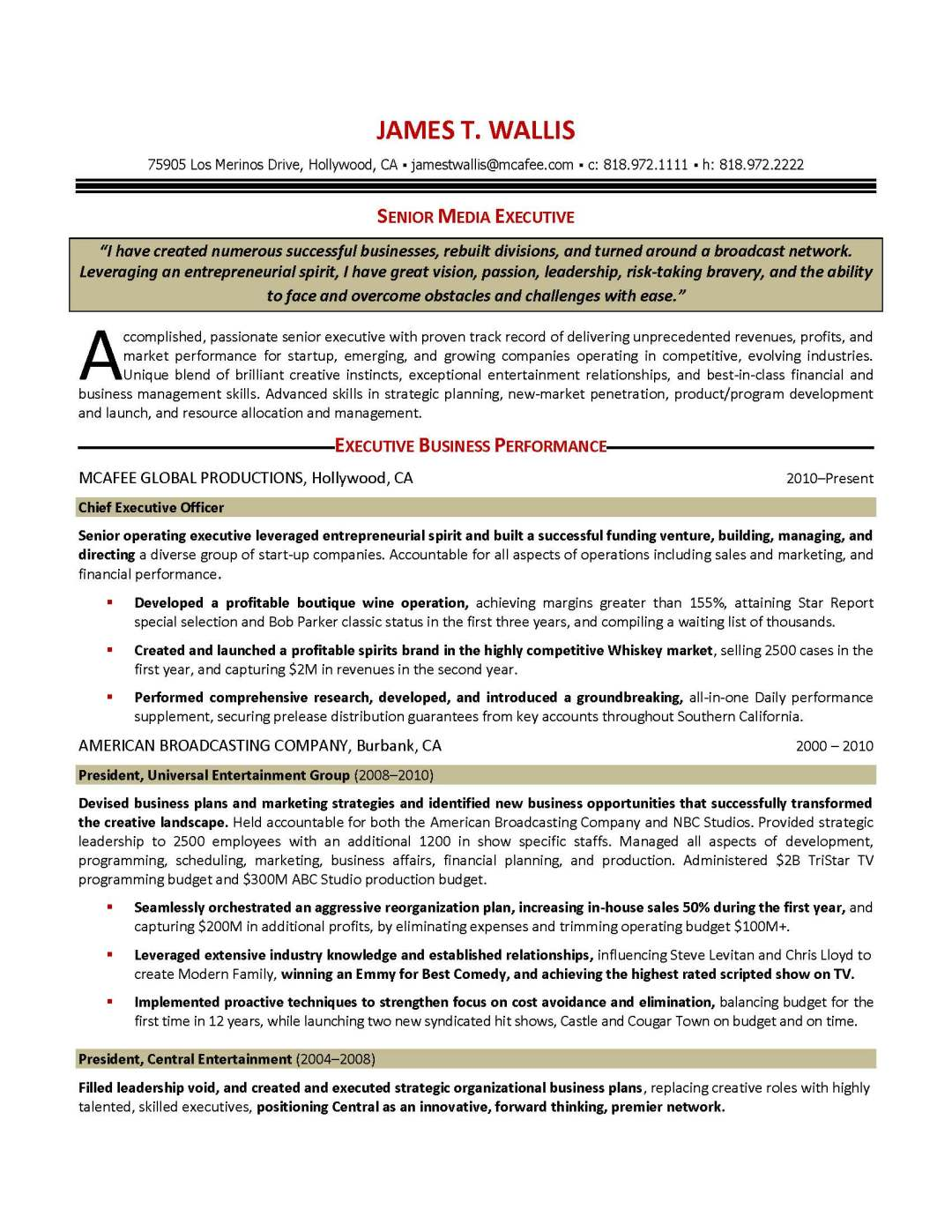 media executive resume sample, provided by Elite Resume Writing Services