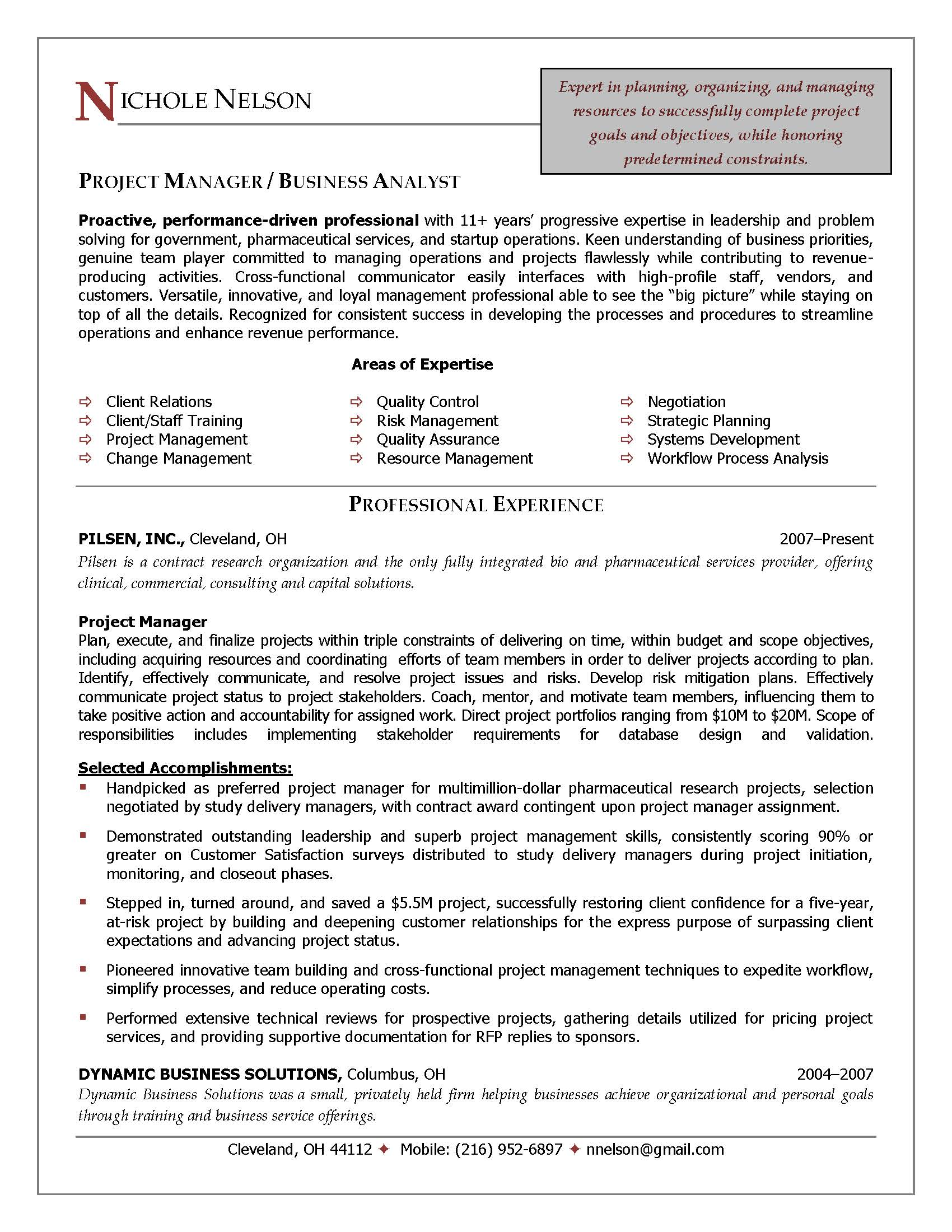 project manager resume sample provided by elite resume writing services - Example Project Manager Resume